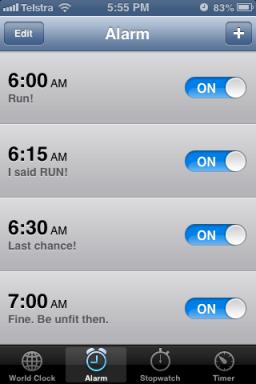 Running alarm